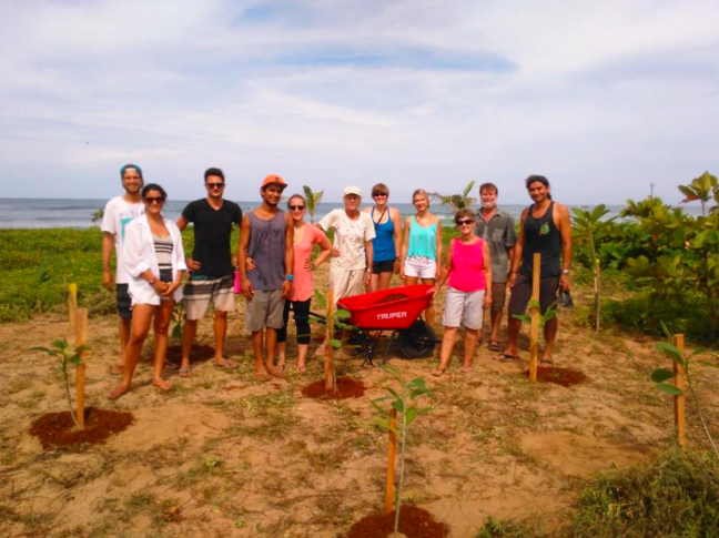 NCA volunteers restoring trees to our beach with Barri-Guiones