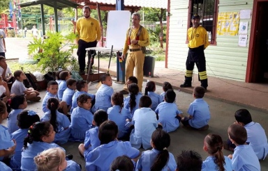 Our Bomberos Teaching Fire Safety